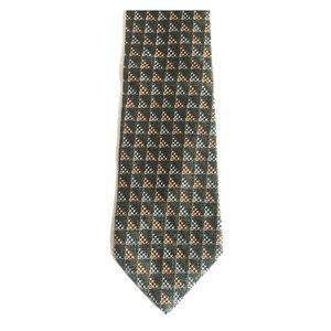 GUESS USA AMERICANS CLASSIC GREEN GEOMETRIC TIE